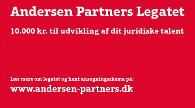 Andersen Partners Legatet – 10.000 kr. til udvikling af dit juridiske talent