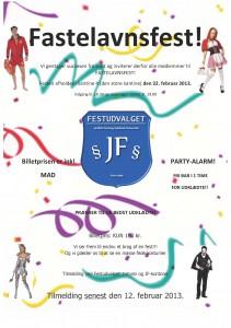 Invitation til JF fastelavnsfest 2013